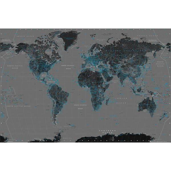 affiche de la carte du monde bleu et noir 61 x achat vente affiche drapeau. Black Bedroom Furniture Sets. Home Design Ideas