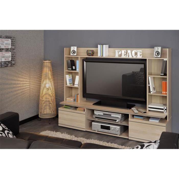 paroi tv couleur ch ne clair tucker achat vente meuble tv paroi tv ch ne clair tucker. Black Bedroom Furniture Sets. Home Design Ideas