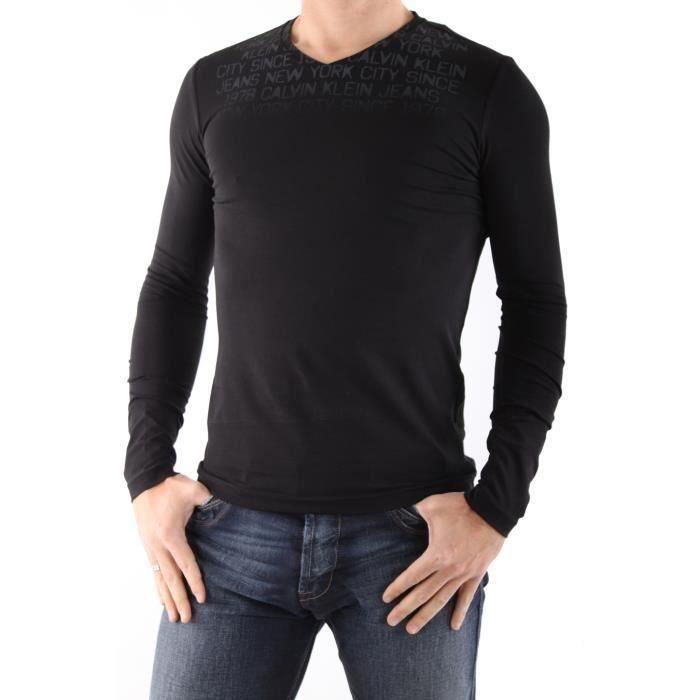 T shirt calvin klein jeans manche longue homme noir - Tee shirt manche longue calvin klein ...