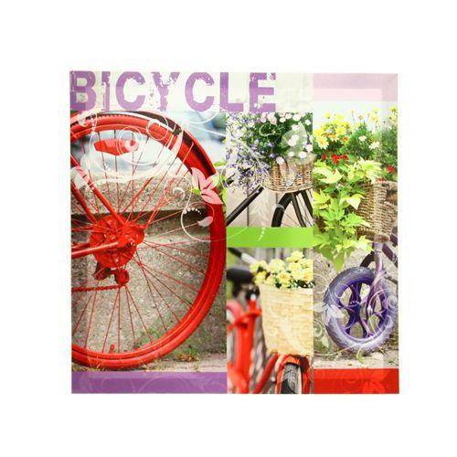 Toile imprim e v lo et fleur l 58 cm violet achat for Decoration murale velo