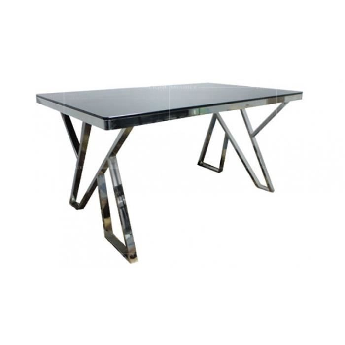 Td6 table salle a manger plateau verre noir achat for Table a manger verre