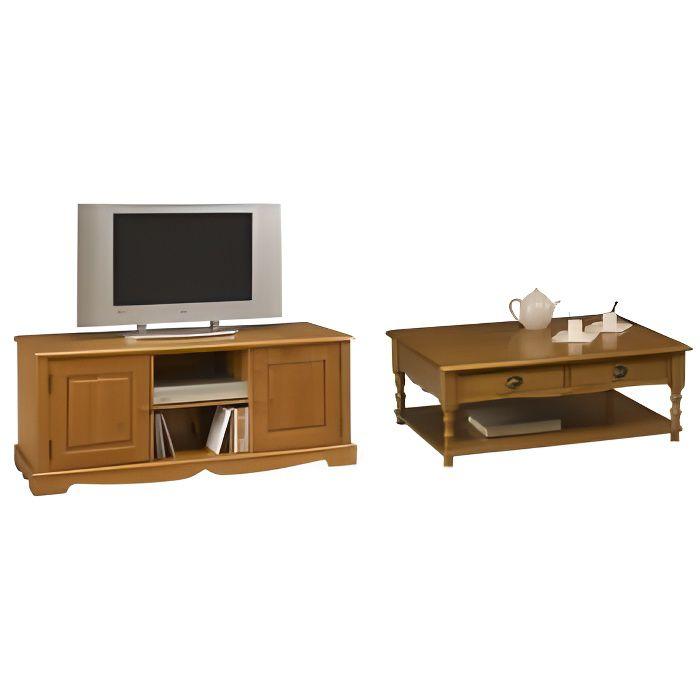 Ensemble table basse et meuble tv pin miel achat - Meuble tv table basse ensemble ...