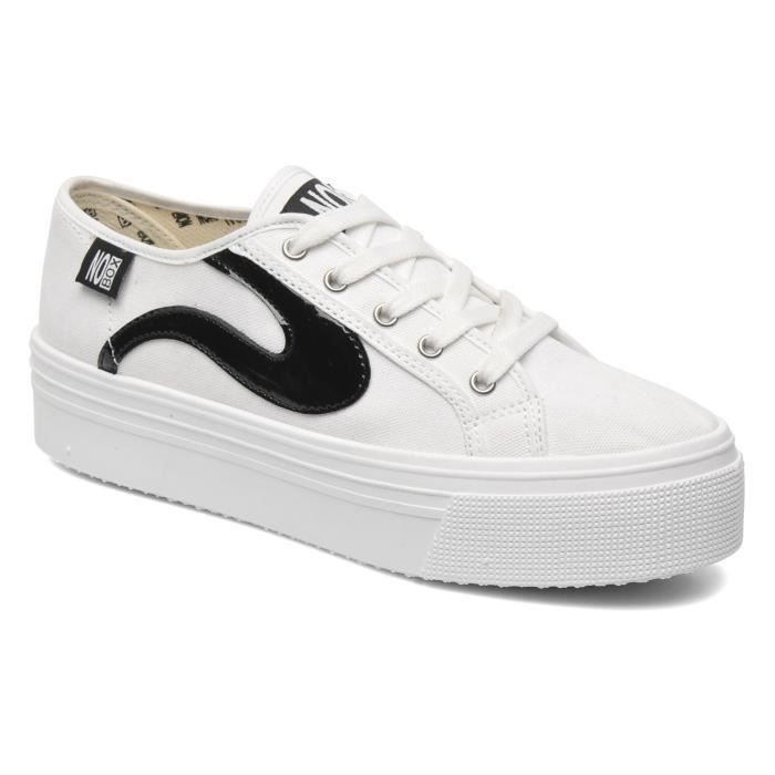 Baskets blanches femme no box plateforme blanc blanc achat vente basket cdiscount for Baskets blanches femme