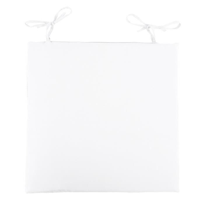 Galette de chaise 38x38 cm impermeable blanc achat - Galette de chaise blanc ...