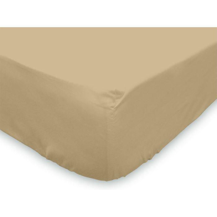 Drap housse 160x200 cm coton uni taupe achat vente for Draps housse 160x200