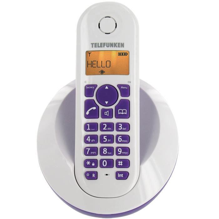 telefunken t l phone sans fil peps tb201 violet s achat. Black Bedroom Furniture Sets. Home Design Ideas