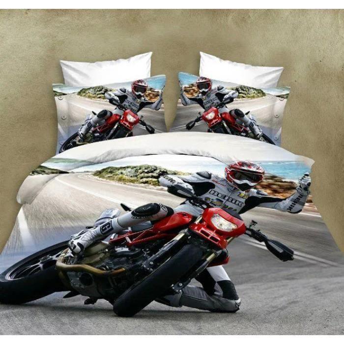 housse de couette moto achat vente housse de couette moto pas cher cdiscount. Black Bedroom Furniture Sets. Home Design Ideas