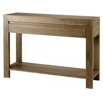 console en teck gris 120 x 35 x 85 cm achat vente console extensible console en teck gris. Black Bedroom Furniture Sets. Home Design Ideas