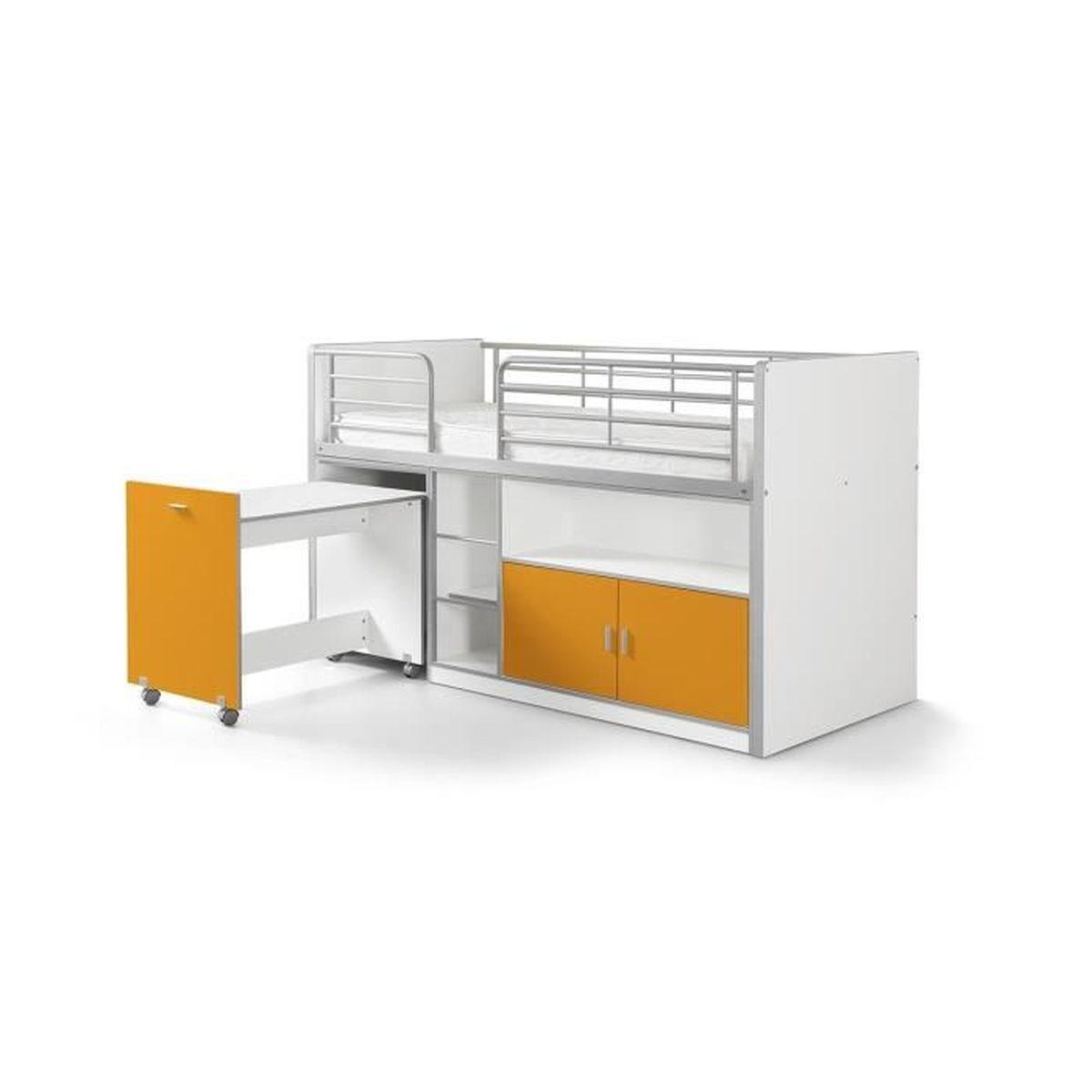 vipack lit mezzanine bureau rangement 90x 200 bonny orange achat vente lit mezzanine. Black Bedroom Furniture Sets. Home Design Ideas