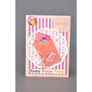 carte de f licitations naissance fille faite main achat vente objet d coratif cdiscount. Black Bedroom Furniture Sets. Home Design Ideas