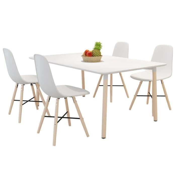 Set de 4 chaises de salle manger avec pieds en bois for Chaise de salle a manger avec roulette