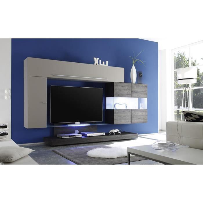 Ensemble meuble tv taupe laqu et weng avec clairage led - Meuble tv laque taupe ...
