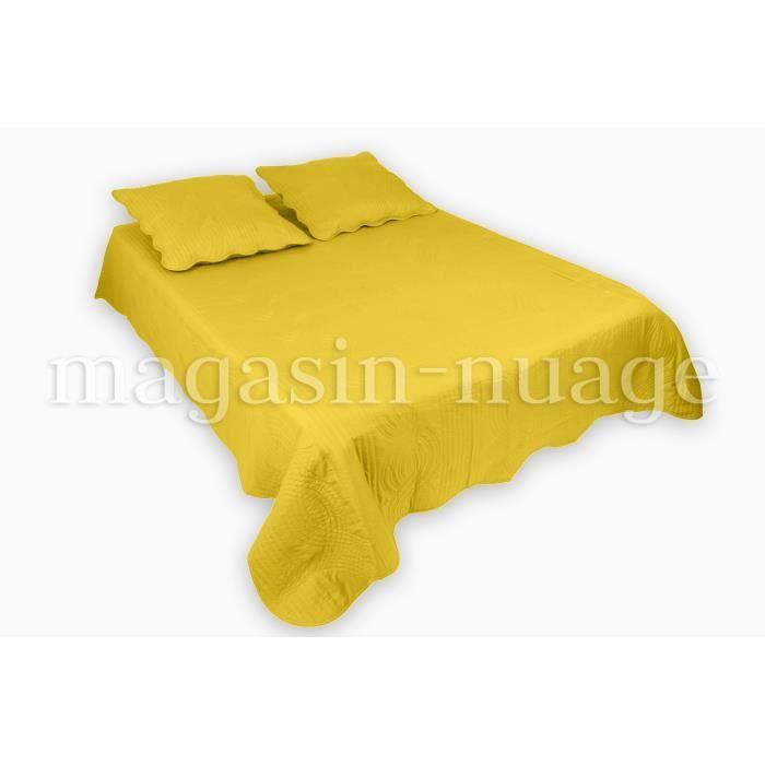 couvre lit 2 places grande largeur flora jaune achat. Black Bedroom Furniture Sets. Home Design Ideas