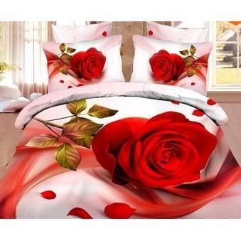 Parure 3d 2 personnes roses rouges 10 achat vente parure de lit cdiscount - Lit 2 personnes cdiscount ...