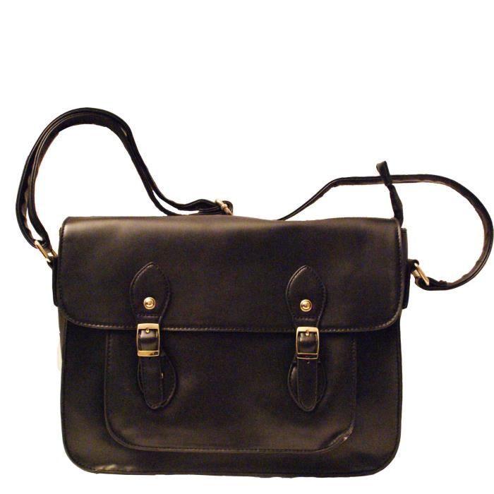sac main cartable vintage noir boucles achat. Black Bedroom Furniture Sets. Home Design Ideas
