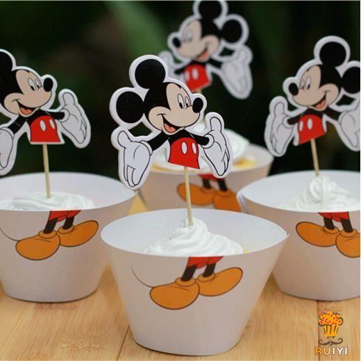12 set mickey d coration de f te emballages de g teau et for Decoration maison mickey