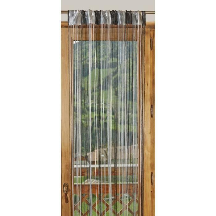 1 rideau fils paillettes bicolore 90x240cm gris noir. Black Bedroom Furniture Sets. Home Design Ideas