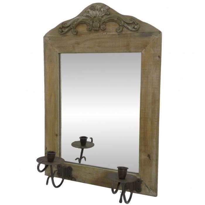 Grand miroir mural applique bougeoir 2 chandelier en bois - Bougeoir mural fer forge ...