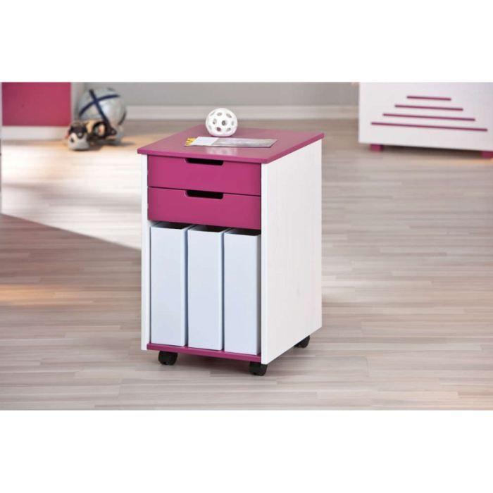 caisson sur roulettes fuchsia et blanc achat vente caisson de bureau caisson sur roulettes. Black Bedroom Furniture Sets. Home Design Ideas
