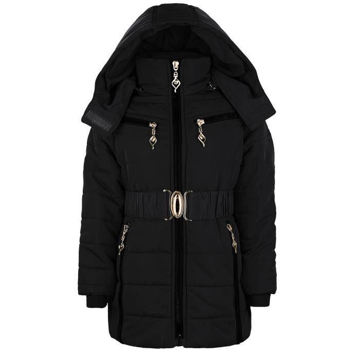 veste fille matelass e hiver capuche d tachable doublure fausse fourrure achat vente. Black Bedroom Furniture Sets. Home Design Ideas