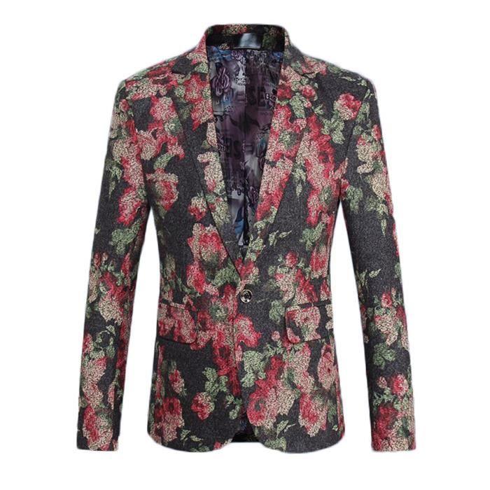 blazer en fleurs homme mode veste de costume no x111 achat vente gilet de costume cdiscount. Black Bedroom Furniture Sets. Home Design Ideas