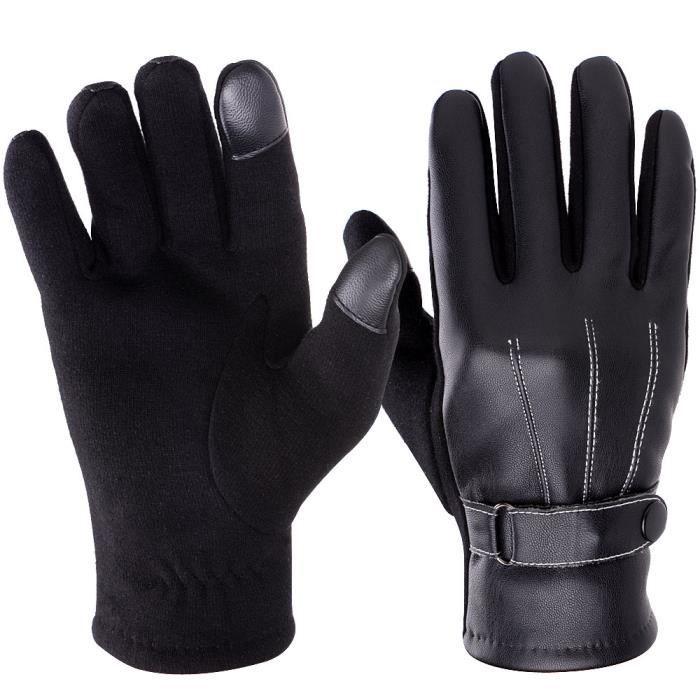 vbiger gants tactiles homme pour automne hiver noir noir achat vente gant mitaine. Black Bedroom Furniture Sets. Home Design Ideas