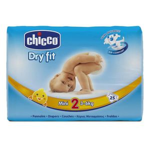 COUCHE CHICCO Dry Fit Taille 2 Mini - 3 à 6 kg - 25 couch