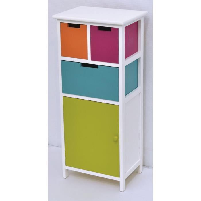 Meuble 3 tiroirs 1 porte verte achat vente miroir for Meuble salle de bain 5 porte
