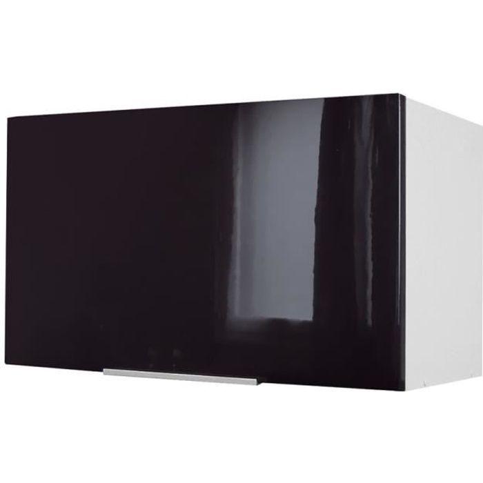 Pop meuble hotte 60 cm noir haute brillance achat for Meuble cuisine noir laque