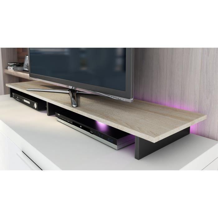 tag re pour tv noir bois brut 139 cm achat vente. Black Bedroom Furniture Sets. Home Design Ideas