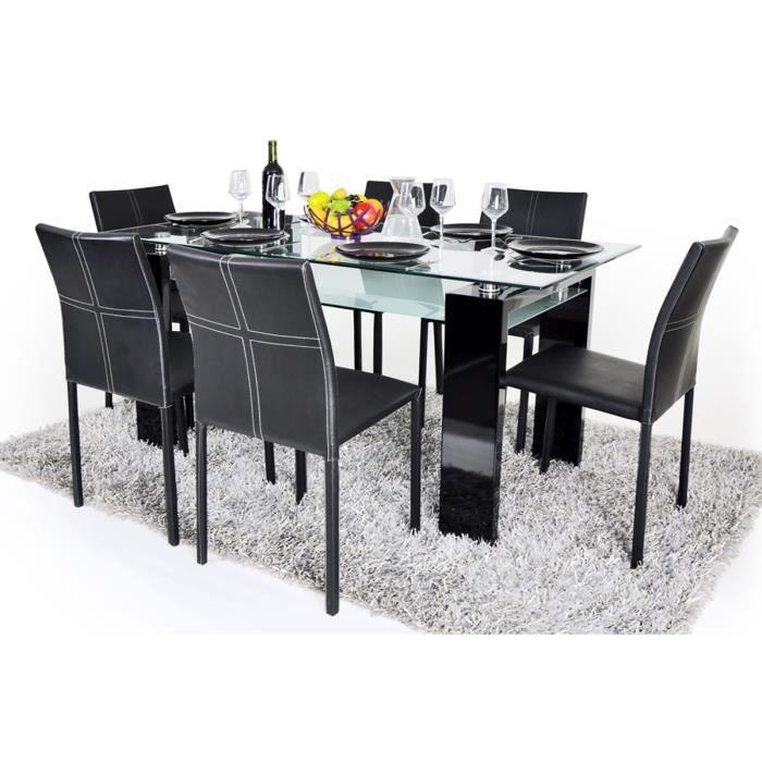 Table manger 180 cm verre 6 chaises noir aline achat for Table verre 6 chaises