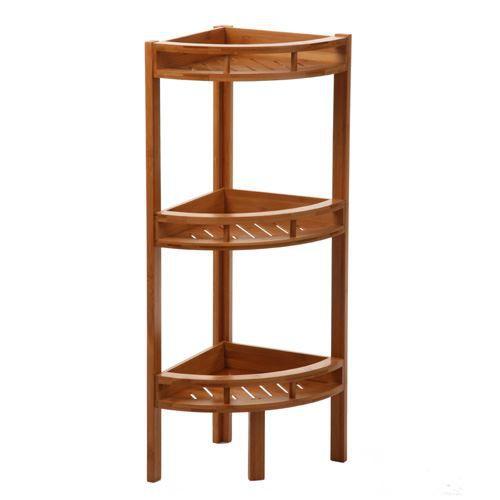 Etag re angle 3 niveaux bambou achat vente meuble for Etagere d angle salon