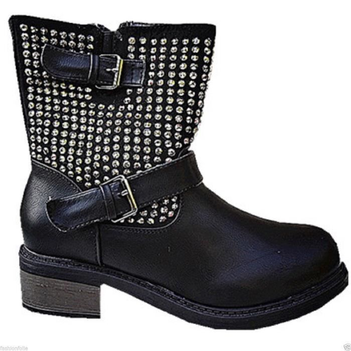 bottine femme clout es fourr e chaussure clout s clou botte clout clout e sm173 noir noir. Black Bedroom Furniture Sets. Home Design Ideas