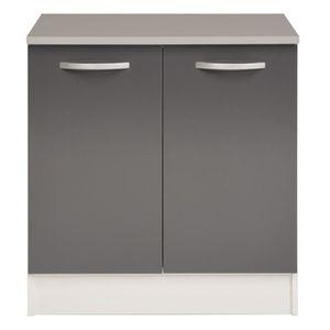 ELEMENTS BAS Eko gris Meuble bas de cuisine 2 portes 80cm