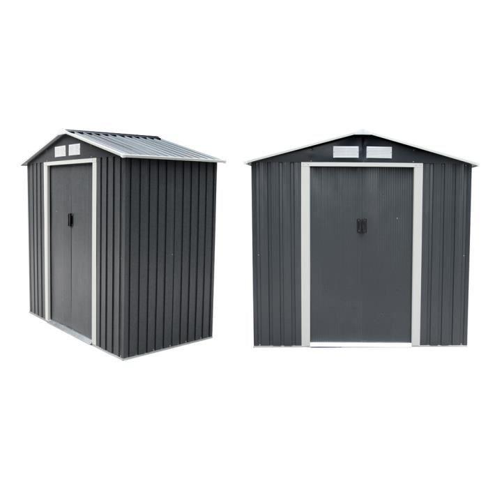 abri de jardin en m tal 2 5 m gris anthracite kit d 39 ancrage inclus achat vente abri. Black Bedroom Furniture Sets. Home Design Ideas