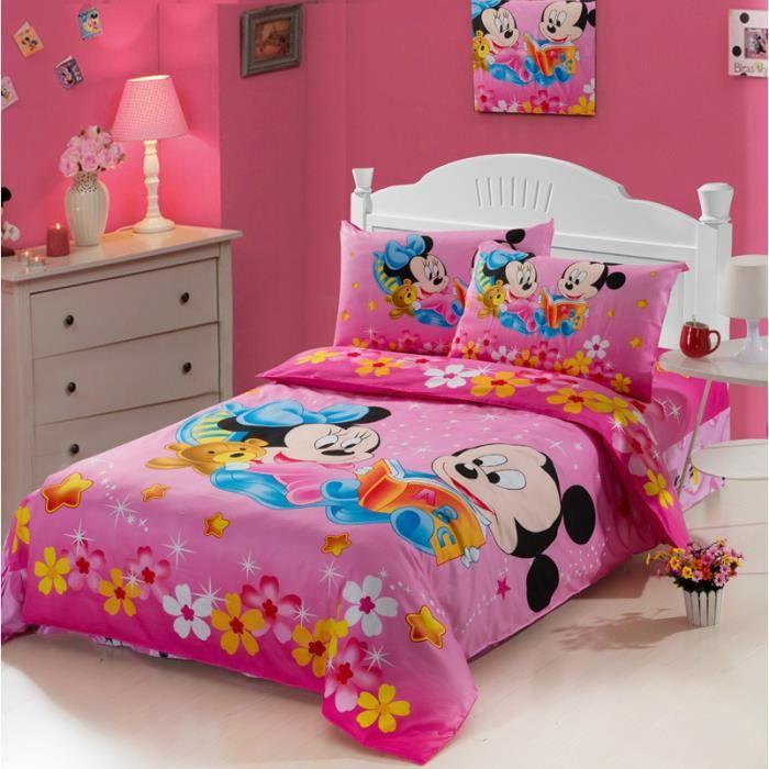 parure de lit mickey et minnie b b coton 155 205cm 4 pieces achat vente housse de couette. Black Bedroom Furniture Sets. Home Design Ideas