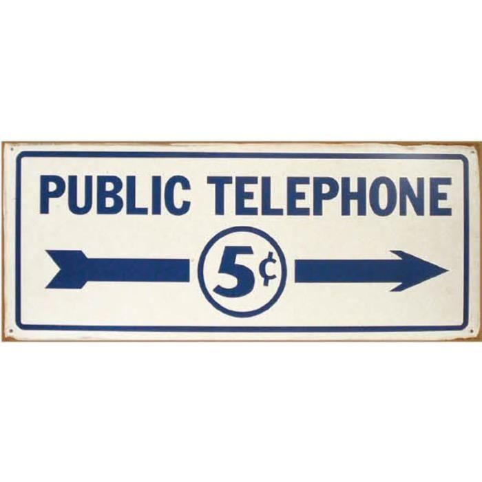 plaque publicitaire public telephone usa d co pub achat vente tableau toile m tal tole. Black Bedroom Furniture Sets. Home Design Ideas