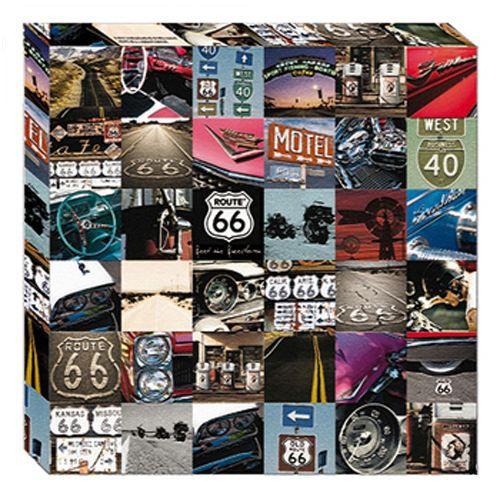 cadre en toile route 66 photos 50 x 50 cm achat vente tableau toile toile bois cdiscount. Black Bedroom Furniture Sets. Home Design Ideas