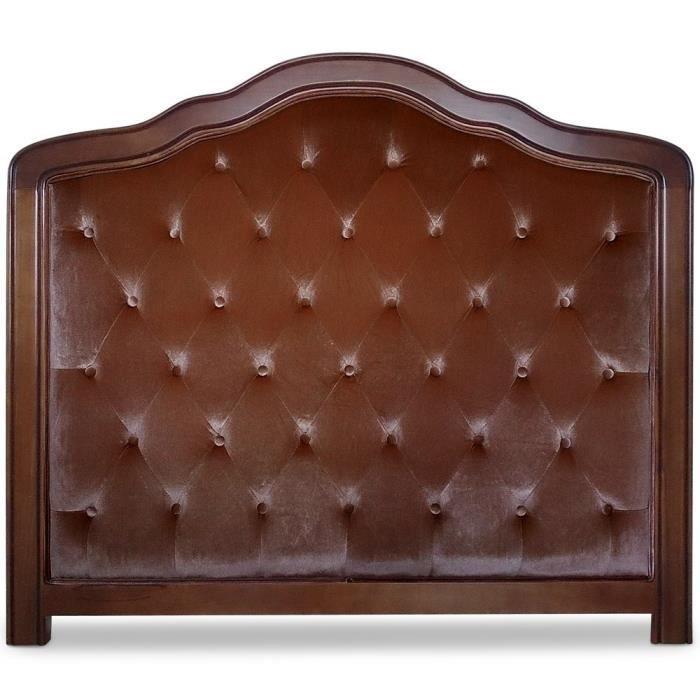 t te de lit capitonn e lucan 140cm velours marron achat vente t te de lit cdiscount. Black Bedroom Furniture Sets. Home Design Ideas