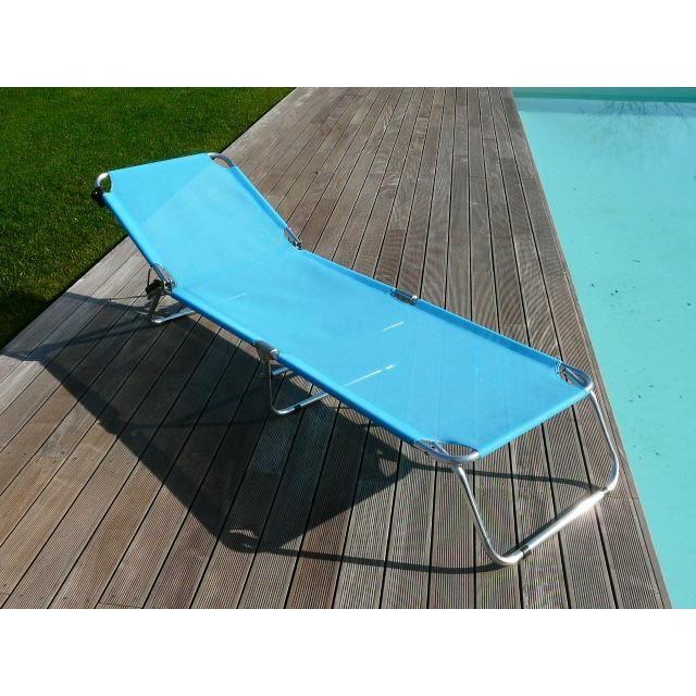 Bain de soleil brenda aluminium pliant bleu achat for Transat pliant jardin