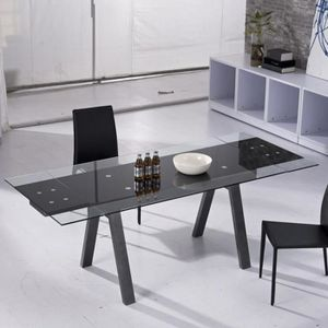 modulo - table relevable transformable extensible laque noir