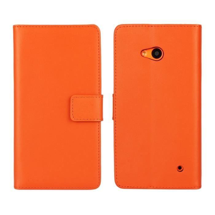 housse de protection coque en cuir portefeuille 201 tui pour microsoft lumia 640 orange