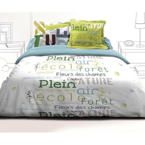 parure drap plat drap housse 160x200 cm 2 taies d oreiller 65x65 cm echappee blanc achat. Black Bedroom Furniture Sets. Home Design Ideas