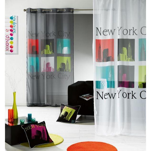 rideau panneau voile oeillet 140x240cm new york achat vente rideau voilage 100 polyester. Black Bedroom Furniture Sets. Home Design Ideas
