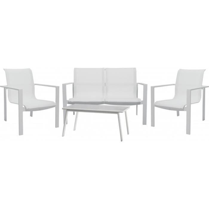 Ensemble 4 places canap fauteuils table aluminium blanc for Ensemble canape exterieur