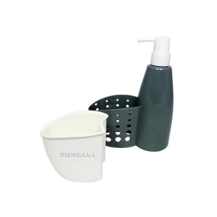 Distributeur savon porte ponge gris achat vente pot liquide vaisselle distributeur savon - Distributeur liquide vaisselle ...