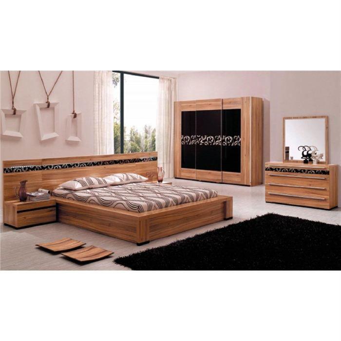 chambre complete design davos bois wengue et noir achat vente lit complet chambre complete. Black Bedroom Furniture Sets. Home Design Ideas