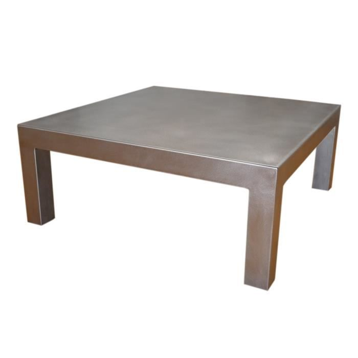 Table basse m tal bross 80 x 80 x h40 achat vente table basse table bass - Table basse acier brosse ...