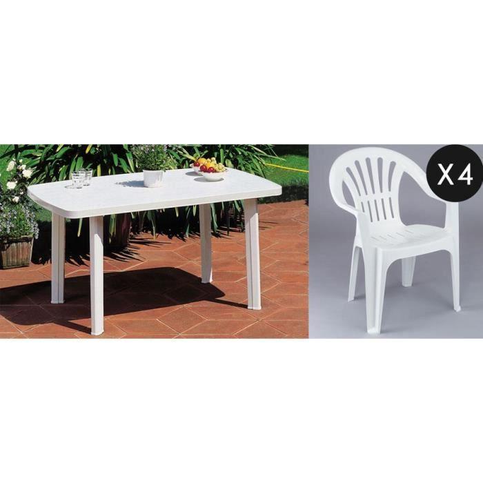 Ensemble table 4 fauteuils en plastique blanc achat - Table de jardin plastique blanc ...