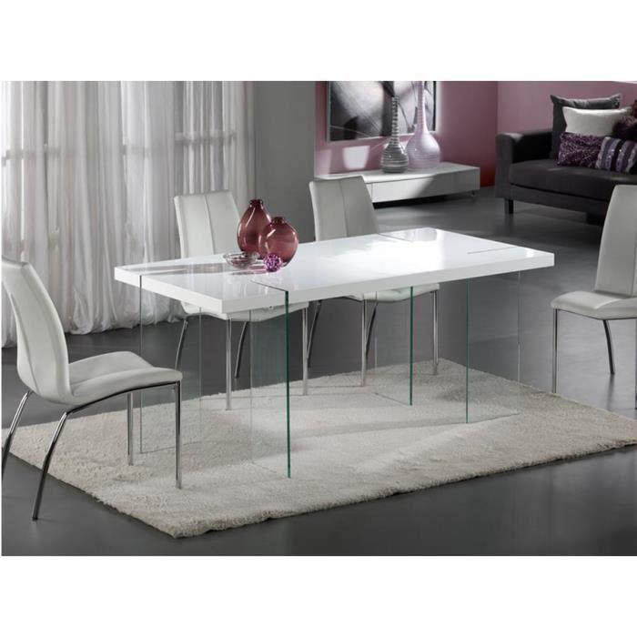 Table design de salle a manger laquee blanc et verre for Table de salle a manger en verre conforama